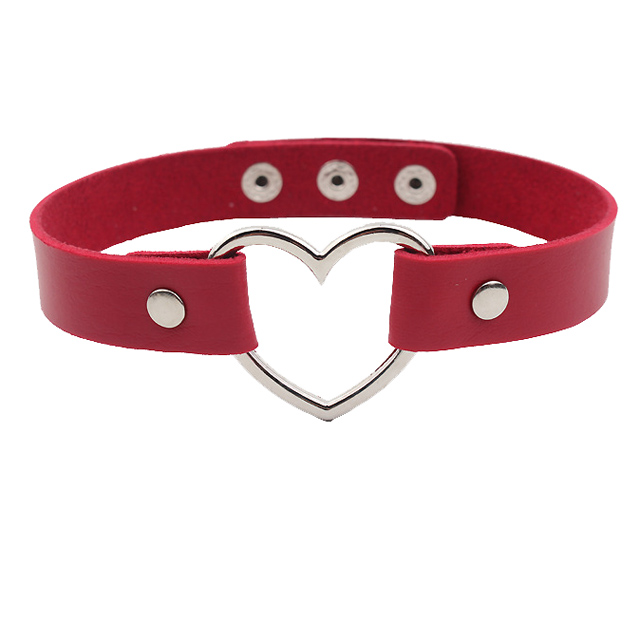 Buckle Hollow PU Leather Heart Choker Necklace For Women and girls <strong>Fashion</strong>