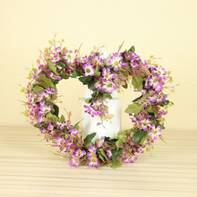 Hot Selling Beautiful Heart Shape Purple Silk Flower Wedding Wreath with Leaves