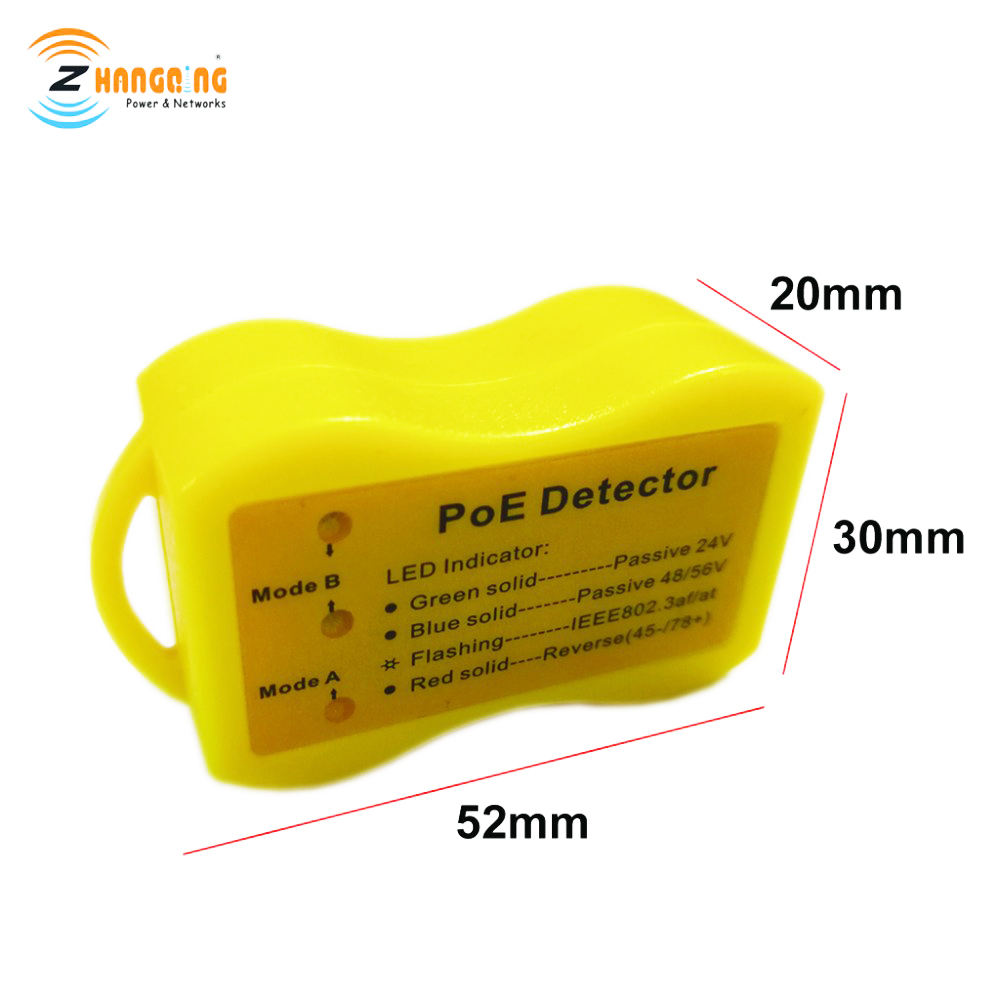 Identify PoE Detector Used For Passive PoE Injector, 802.3af/at, Small Convenient Detector Reverse PoE Polarity