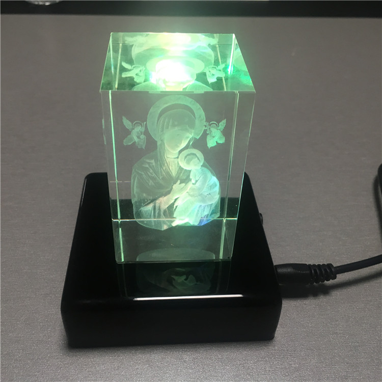 3d Virgin Mary picture laser inside crystal block for Church decoration