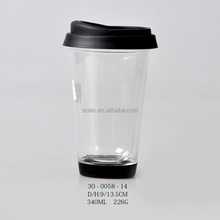 Drinking Glass Bottle With Silicone Sleeve Reusable Coffee Cup Juice Glass Cups Wholesale With Lid