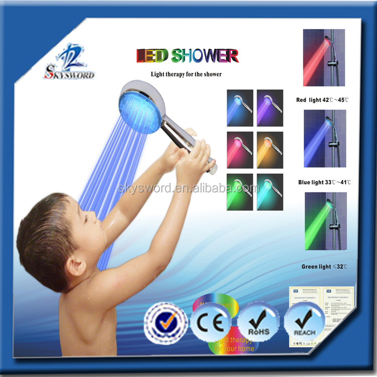 self-powered temperature detectable RGB 3 color change led light shower