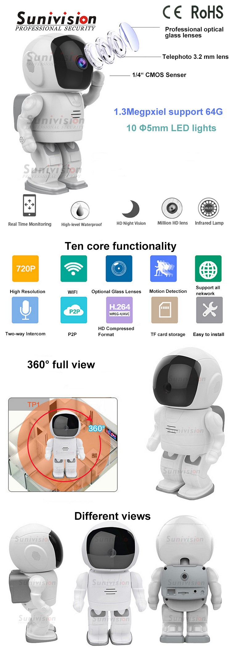 2017 newest products home security camera 3.6mm lens H.264 video compression suport P2P robot wifi ip camera