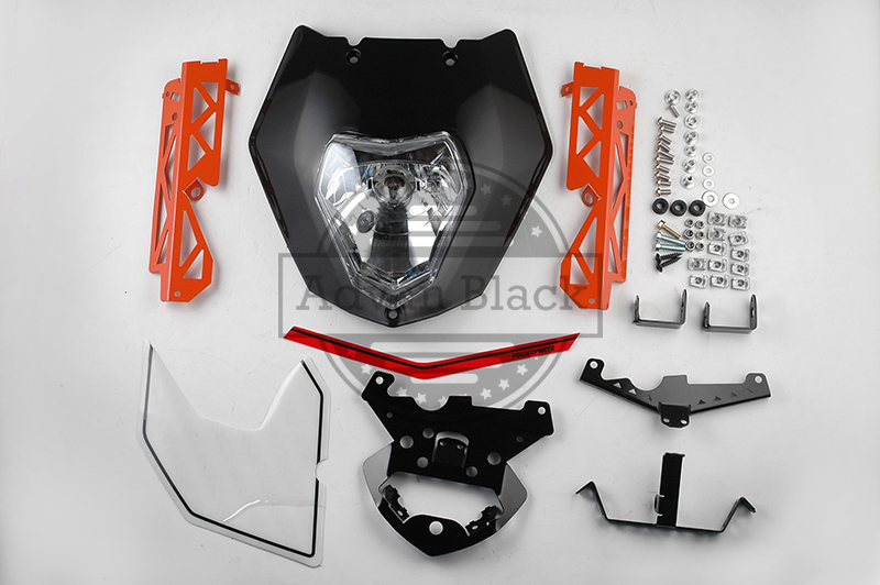 Black Headlight Mask Lights Assembly Decals Cover Fit For KTM 125 200 390 Duke