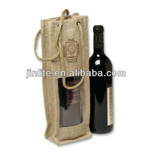 Jute wine bag with clear PVC window
