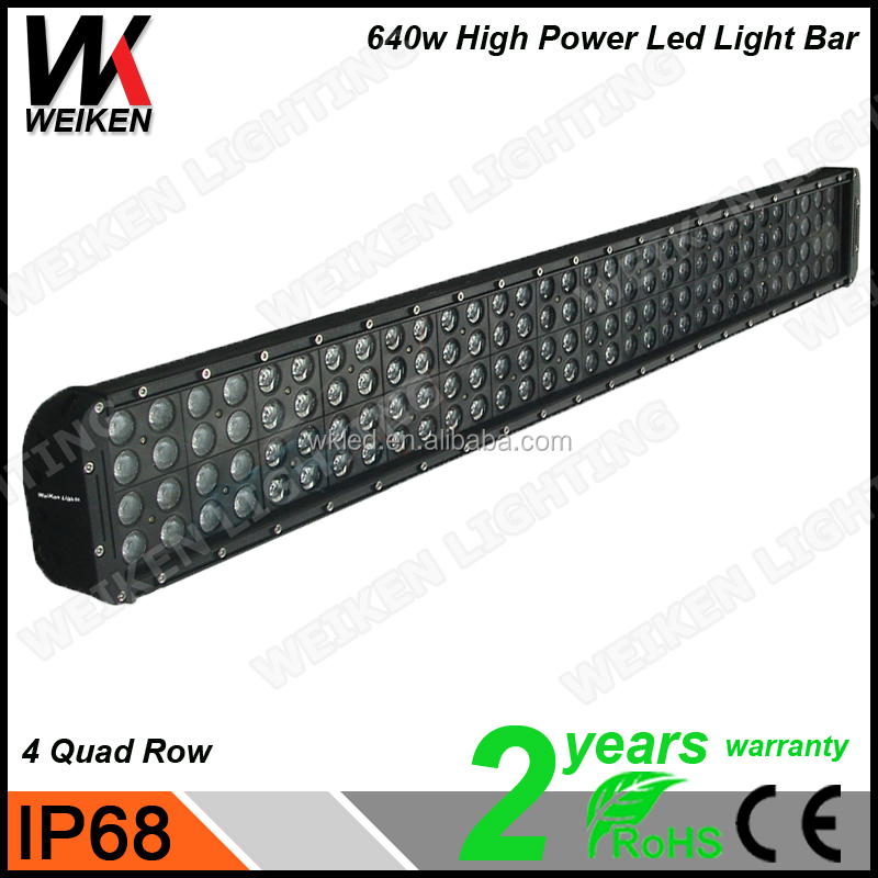 high power 640w waterproof high Lumens single row 5W Crees LED light bar for off road SUV ATV