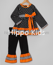 Hot sale orange black polka dot tunic & pants girls halloween boutique outfits baby girl clothing sets
