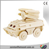 Kids Educational Toys DIY Painting Armoured Car 3D Wooden Jigsaw Puzzle Games Toy