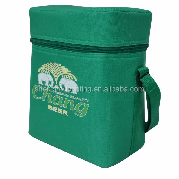 High quality custom green outdoor unisex non woven oxford polyester lunch insulated 6 or 12 pack beer can disposable cooler bag