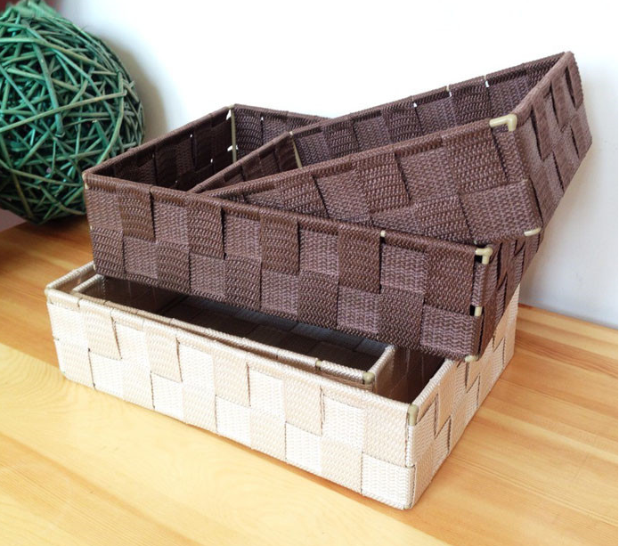 Hot sale items crafts square white PP basket handmade basket Poly-wicker Basket