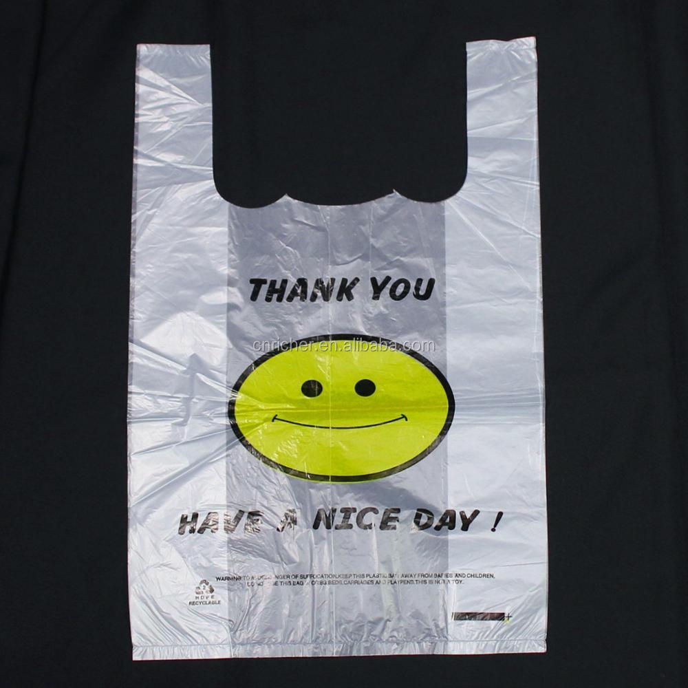 Custom Printed Best Selling T Shirt Bag Plastic Carrier Bag For