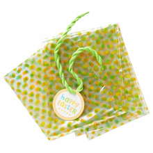 Large Cellophane Holly Pop Holiday Gift Bags, 4ct