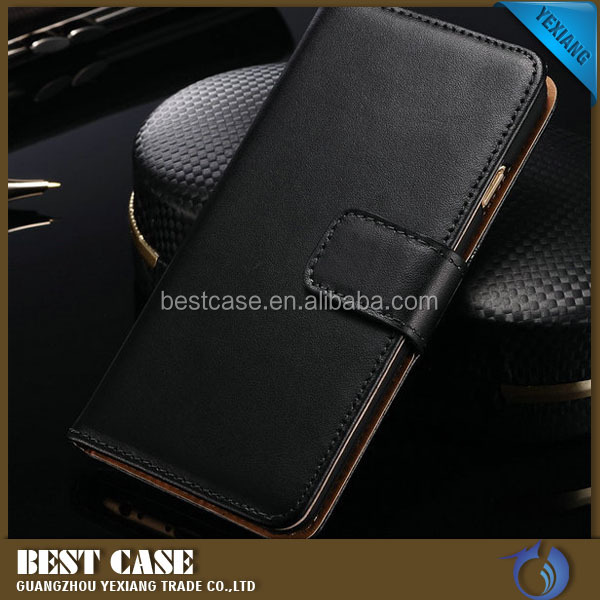 Hot selling real leather flip stand cover for iphone 6 plus leather case cover