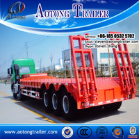 heavy duty flatbed semi trailer / low bed truck trailer for excavator transportation