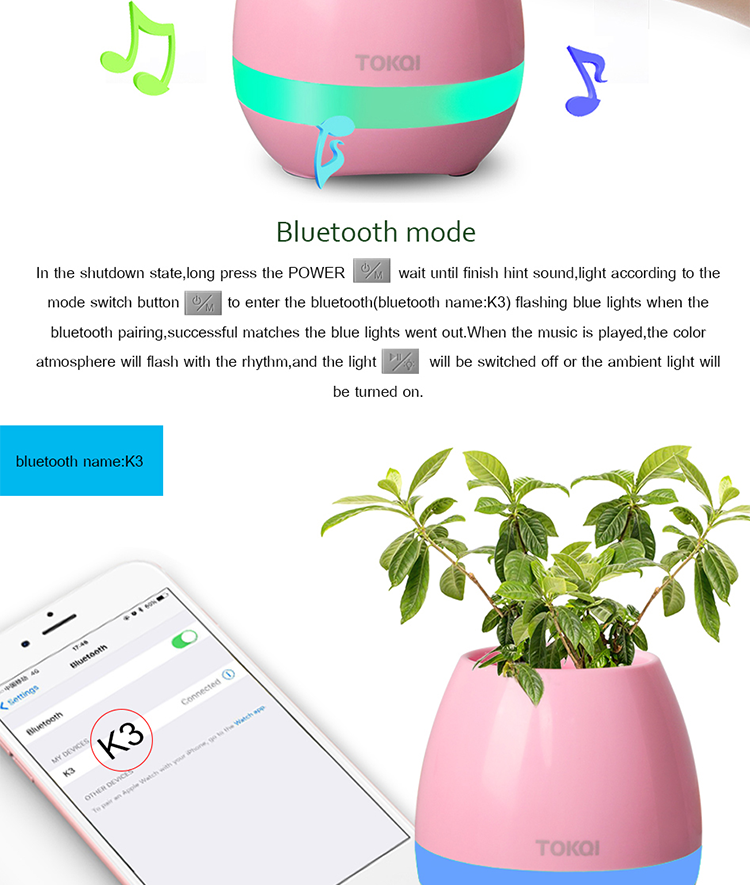 2017 New Arrival Wireless Bluetooth Speaker Smart Touch Music Flower Pot