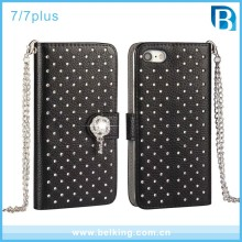 Full Diamond Leather Side Open Wallet Case For iPhone 7 7Plus, PU Flip Case For iPhone 7