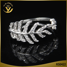 Fashion jewllry adjustable wedding rings CZ zircon ladies 925 sliver white gold finger for women