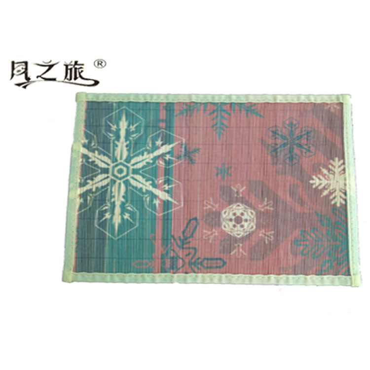 Christmas Promotional Anti-slip Printed Natural Bamboo Woven Rattan Placemats