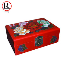 Jewelry Antique Storage Boxes Bins Chinese Wooden Rectangle