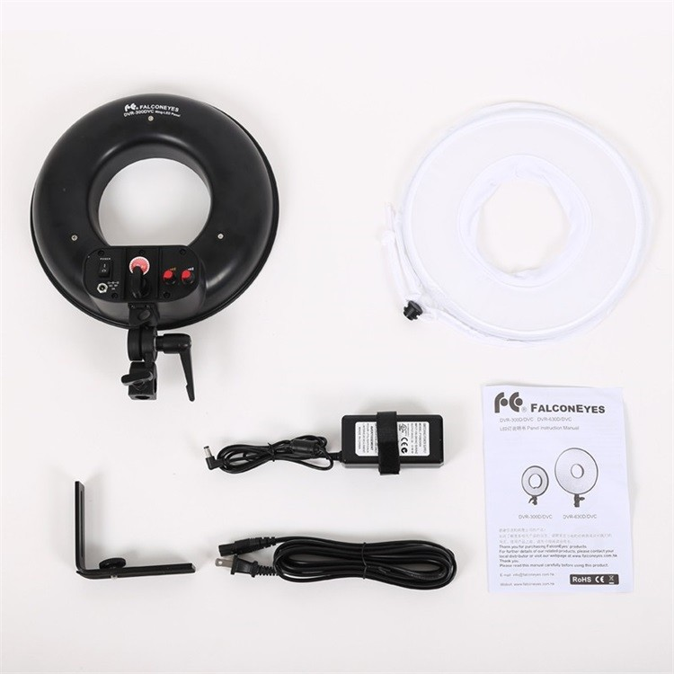 300 Ring LED Panel 3000K-7000K Film Shooting Continuous Light W Camera Bracket DVR-300DVC LED Photography Ring Light 3.jpg