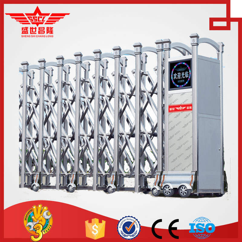 Modern automatic steel folding gate retractable safety gate Fences and gates manufacturers field J1339
