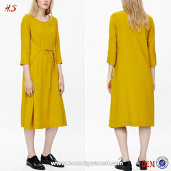 2015 Fashion Loose Tie Front A-line Shape Inside Pocket Wide Round Neckline Yellow Belle Woman Long Sleeve Dresses