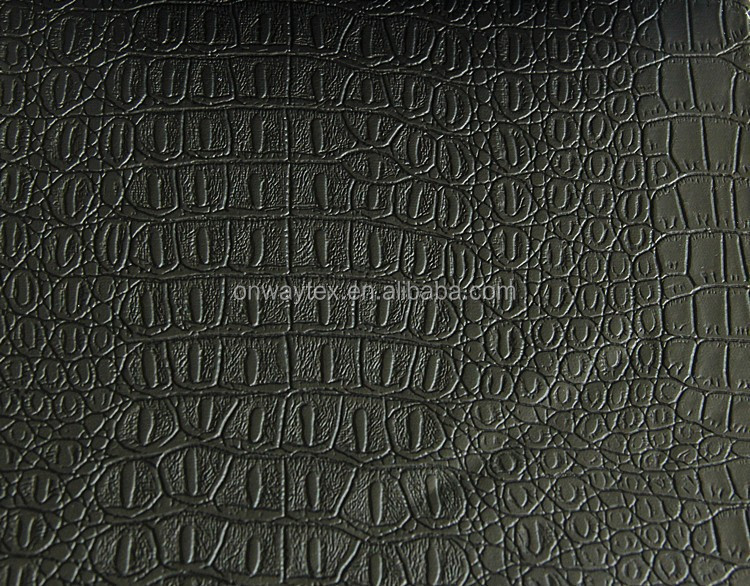 Popular Design from onway textile PU Leather For Decoration, Furniture,backing,sofa with crocodile skin pattern