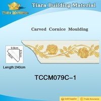 Tiara Building Material high density polyurethane crown mouldings for ceiling roof and wall corner