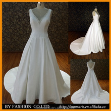 white sweatheart beaded backless bow knot ball gown cathedral train luxurious natural satin wedding dress bridal gown
