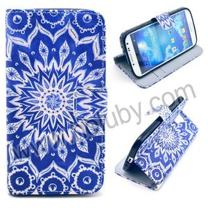 Cross Texture Magnetic Wallet Style Flip Stand TPU+PU Leather Mandala Flower Case for Samsung Galaxy S4 i9500 i9505 i9508 i9509