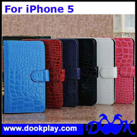 Crocodile Card Wallet PU Leather case for Apple iPhone5 iPhone 5 Flip Cover