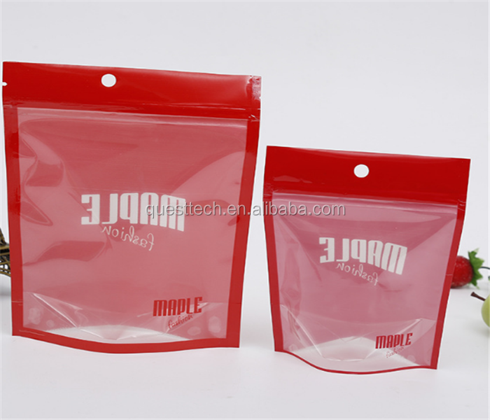 Biodegradable Stand Up Ziplock Front Clear Window Resealable Food /Underwear/T shirt Packaging Bags