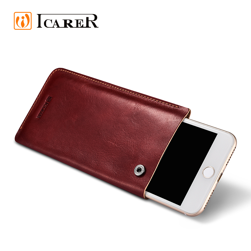 ICARER Dual Genuine Leather Mobile Phone Pouch Bag 4.7 5.5 Inch