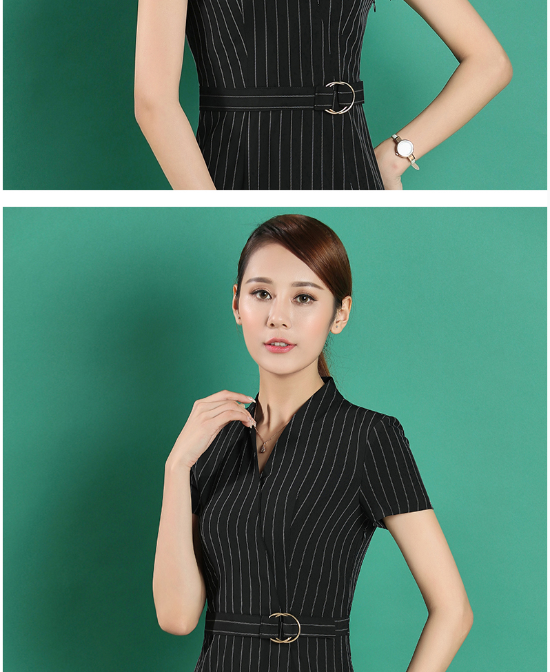 OL deep blue stripe office ladies dress bodycon with running belt waist work wear women