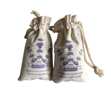 Small cotton lavender sachet bags with cotton drawstring