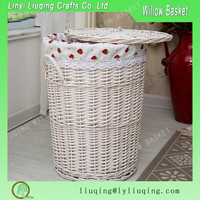 Factory wholesale round Wicker clothing baskets/ White wicker laundry baskets/Covered wicker baskets
