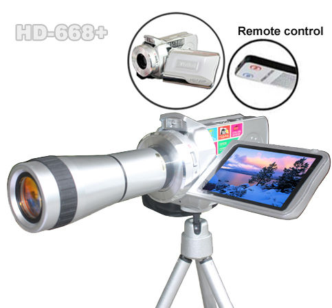 telescopic digital camcorder with flashlight