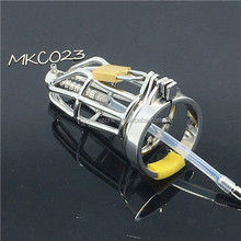 Male Chastity Device Stainless Steel Cock Short Cage Urethral Lock Toys C023