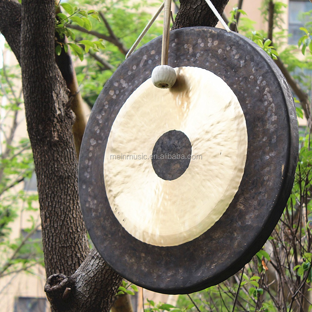 MK Brand antique chinese brass gong with wooden stand