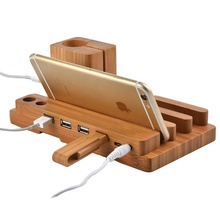 4 Ports Wooden Charging Dock Station <strong>Holder</strong>,<strong>bamboo</strong> desk organizer with phone, smartwatch, <strong>pen</strong> pad <strong>holder</strong>