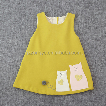 Children wear clothes children's sleeveless yellow girls dress