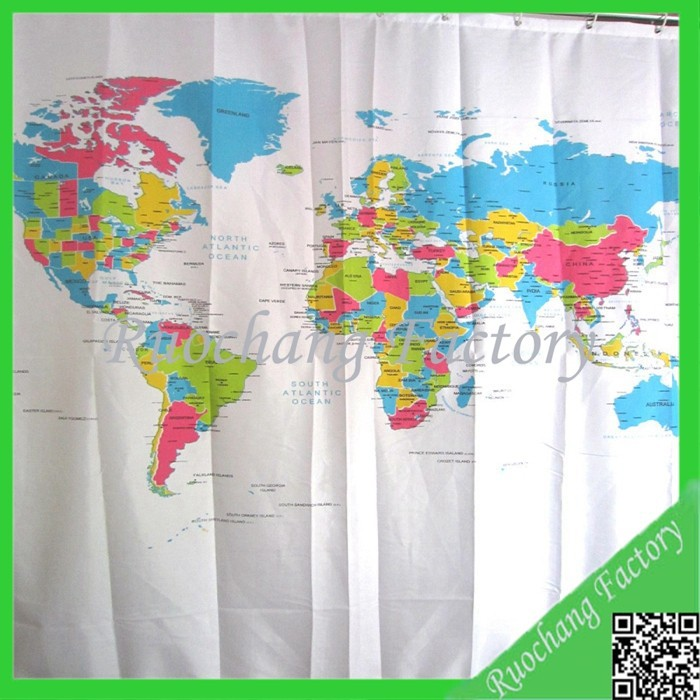 World Map Design Polyester Shower Bath Curtain Fabric