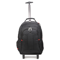guangzhou factory whole low MOQ heavy-duty black trolley backpack on wheels