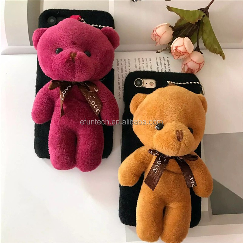 Drop shipping cute bear fur back mobile phone case for iphone 6s plus case