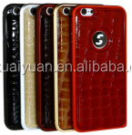 Luxury genuine leather case for iphone 5/ 6/6 Plus phone ,Aluminum Bumper crocodile leather case cover for iphone 6 plus