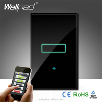 Wallpad Black Tempered Glass 110~250V 120 AU US Standard 1 Gang Wifi Remote Light Control Electric WIFI Power Touch Wall Switch