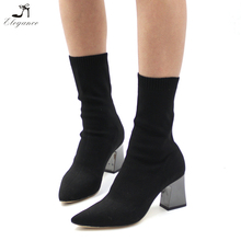 2018 Women Shoes Factory Wholesale Black Sexy Sweater Woolen-yarn Knit Pointy Toe Ankle Sock Boots Elegant Ladies Booties