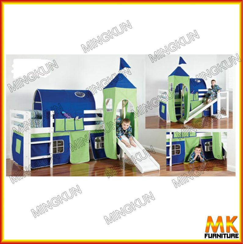 enfants lit mezzanine avec toboggan tente literie id de. Black Bedroom Furniture Sets. Home Design Ideas