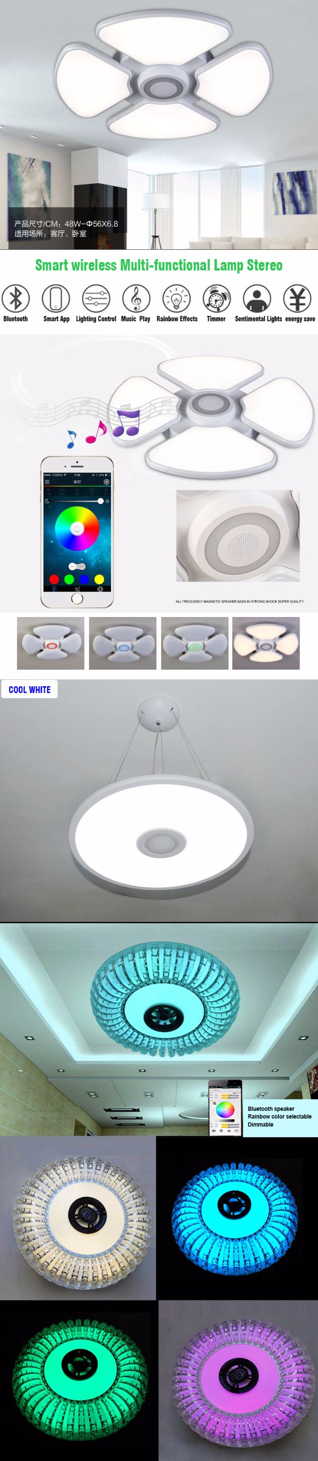 High power led light cool white warm white music box ceiling light with Bluetooth speaker