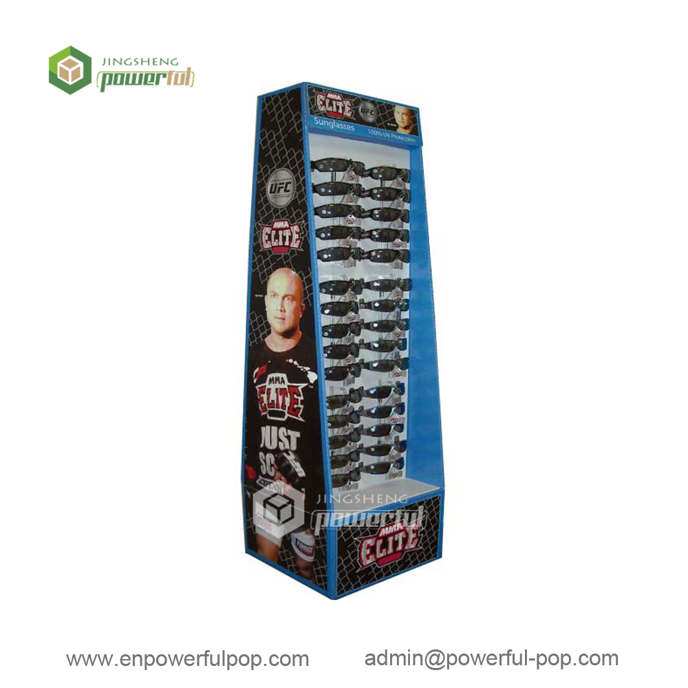 custom advertising sunglasses double sides POS cardboard floor standing display with peg hooks